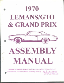 Assembly Manual Pontiac GTO/Lemans/Grand Prix 1967, 1969 and 1970
