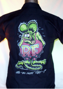 Rat Fink on Black Work Shirt